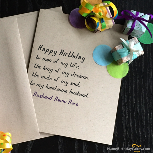 Write name on Unique Birthday Card for Husband Happy Birthday – How to Write on Birthday Card
