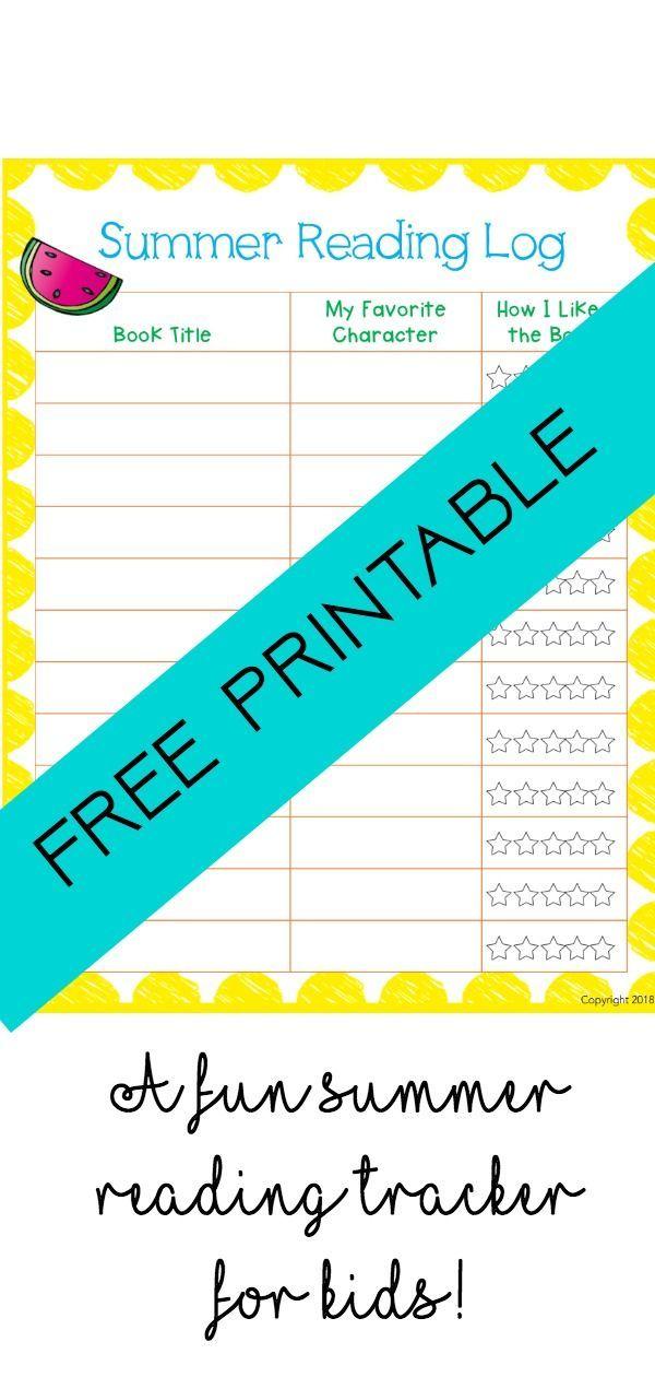 A Fun Summer Reading Log for Kids: Free Printable | Summer ...