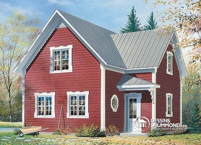 W2588 - Plan de style fermette 2 étages, 2 chambres, coin ordinateur - liste materiaux construction maison