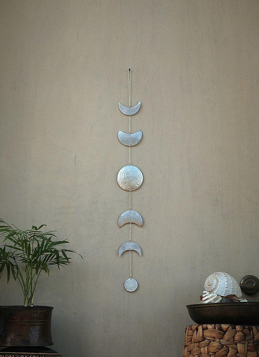 Moon Phases Wall Hanging Silver Full Moon Wall Decor Moon Wall Art Moon Child Lunar Moon