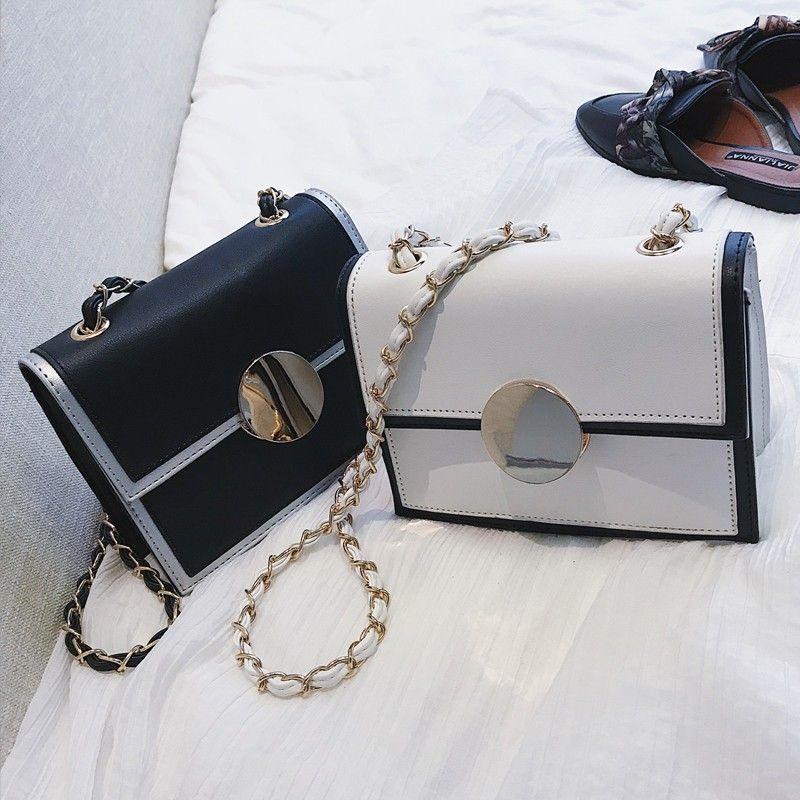 White Small Chain Crossbody Purse With Black Rim Purses Crossbody Womens Purses Designer Bags Purses