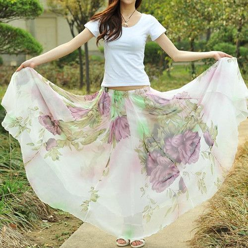 c3c285f74438 Ladys Full Circle Big Hem Elegant Boho Lotus Leaf Summer Chiffon Maxi Long  Skirt