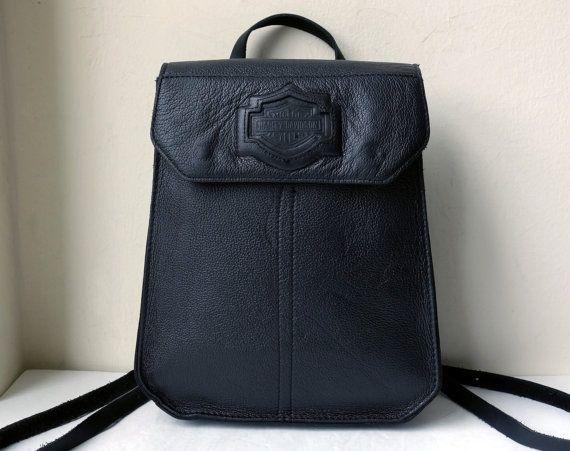 vintage harley davidson black leather structured backpack. Black Bedroom Furniture Sets. Home Design Ideas