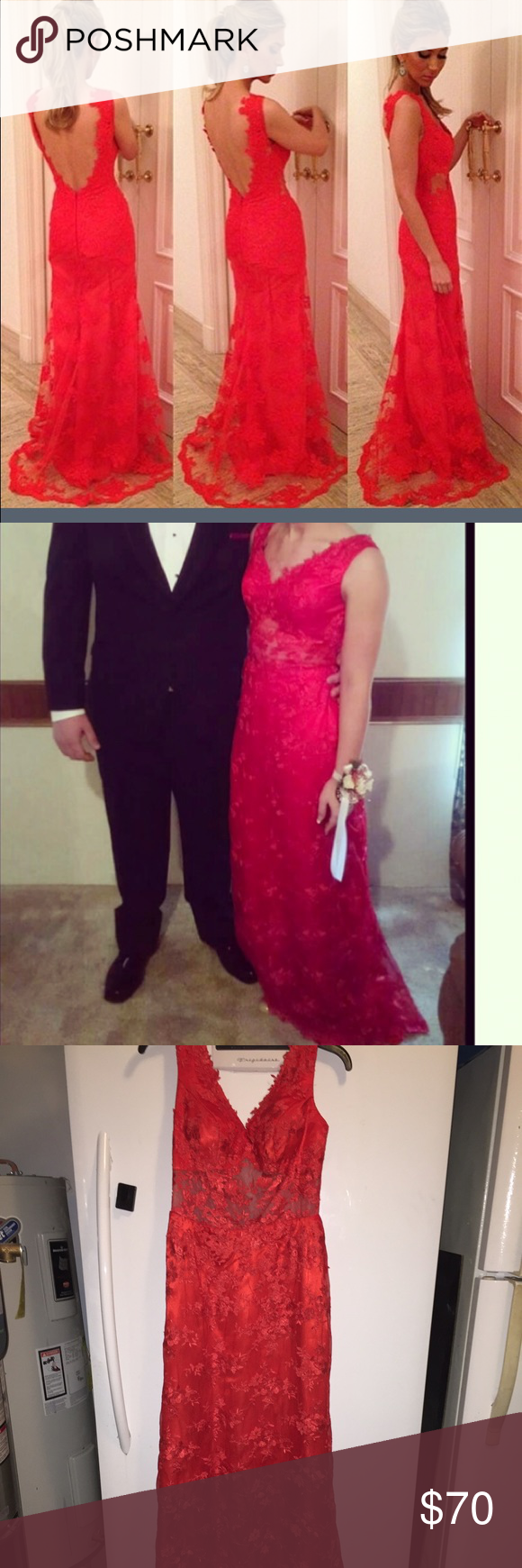 Prom dress beautiful red lace prom dress size dress was only