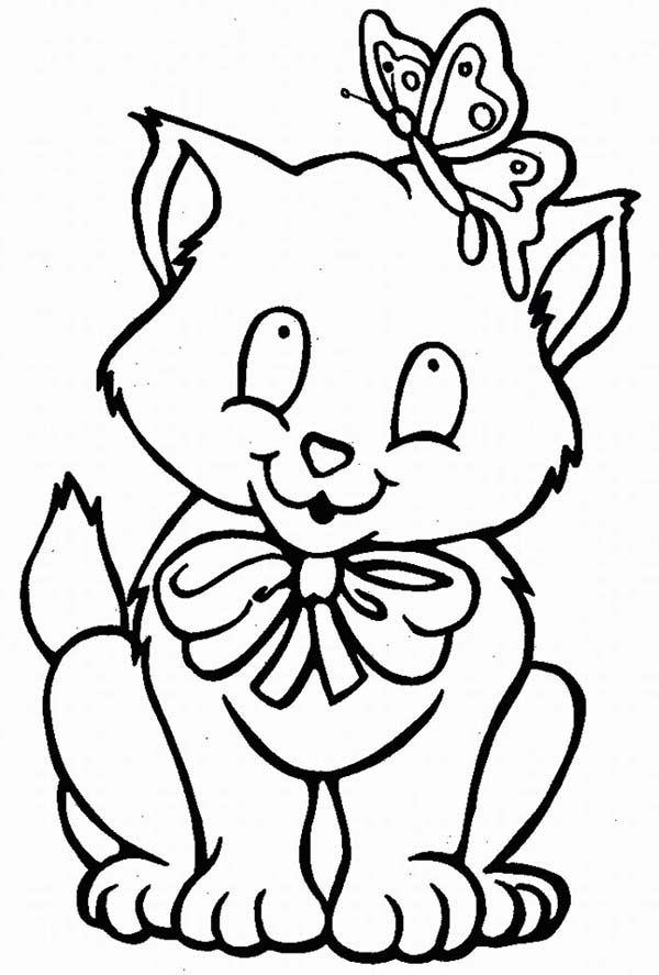 A Kitty Cat And Its Butterfly Friend Coloring Page Kids Play Color Cat Coloring Book Kittens Coloring Butterfly Coloring Page