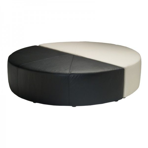 Magnificent Black And White Leather Circle Ottoman Modern Gmtry Best Dining Table And Chair Ideas Images Gmtryco