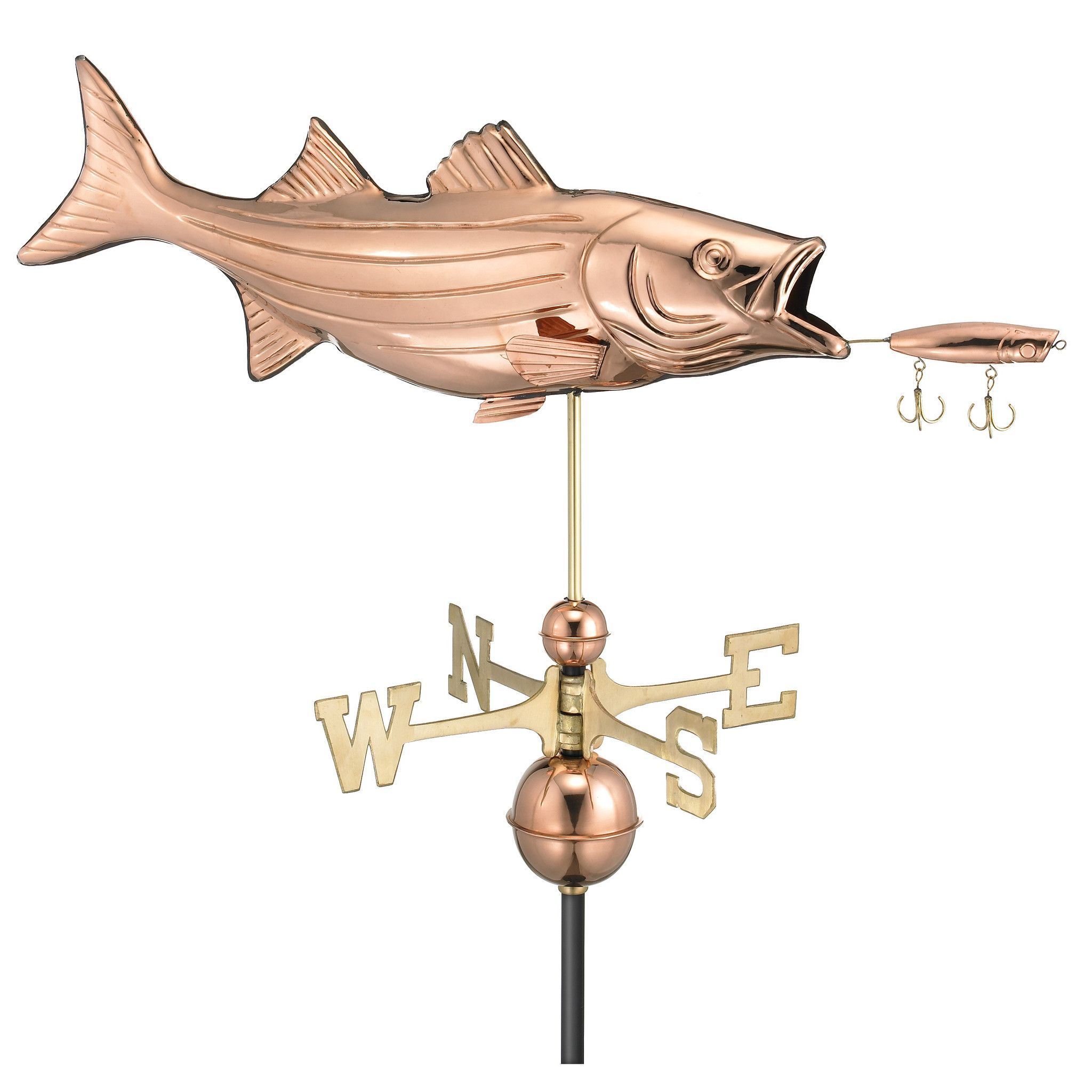Bass with Lure Polished Copper Weathervane
