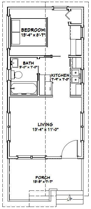 14x28 1 Bedroom House 14x28h1c 391 Sq Ft Excellent Floor Plans Tiny House Floor Plans 1 Bedroom House Tiny House Plans