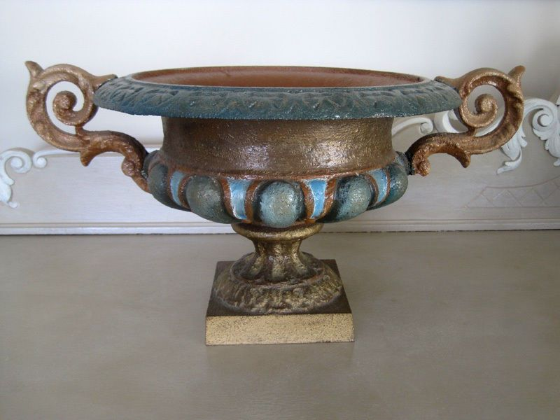 Antique French Cast Iron Garden Urn Planter Hand Painted Heavy Over 7kgs