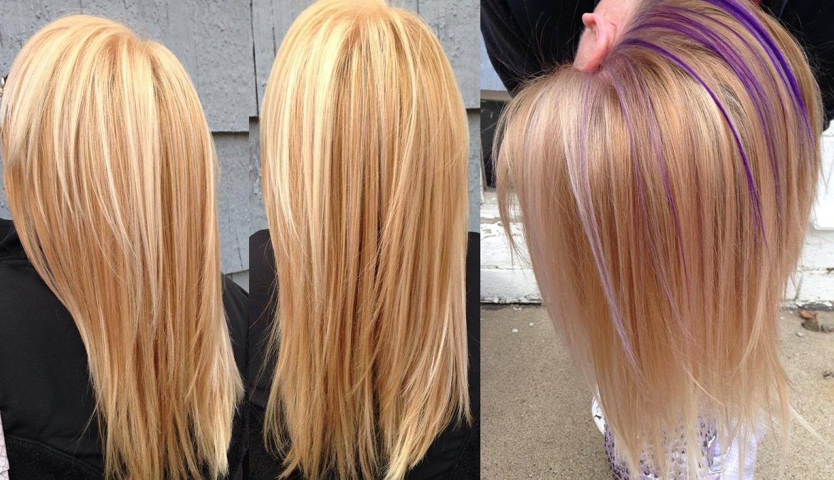 Bright blonde with a purple peekaboo underneath COME LEARN MORE