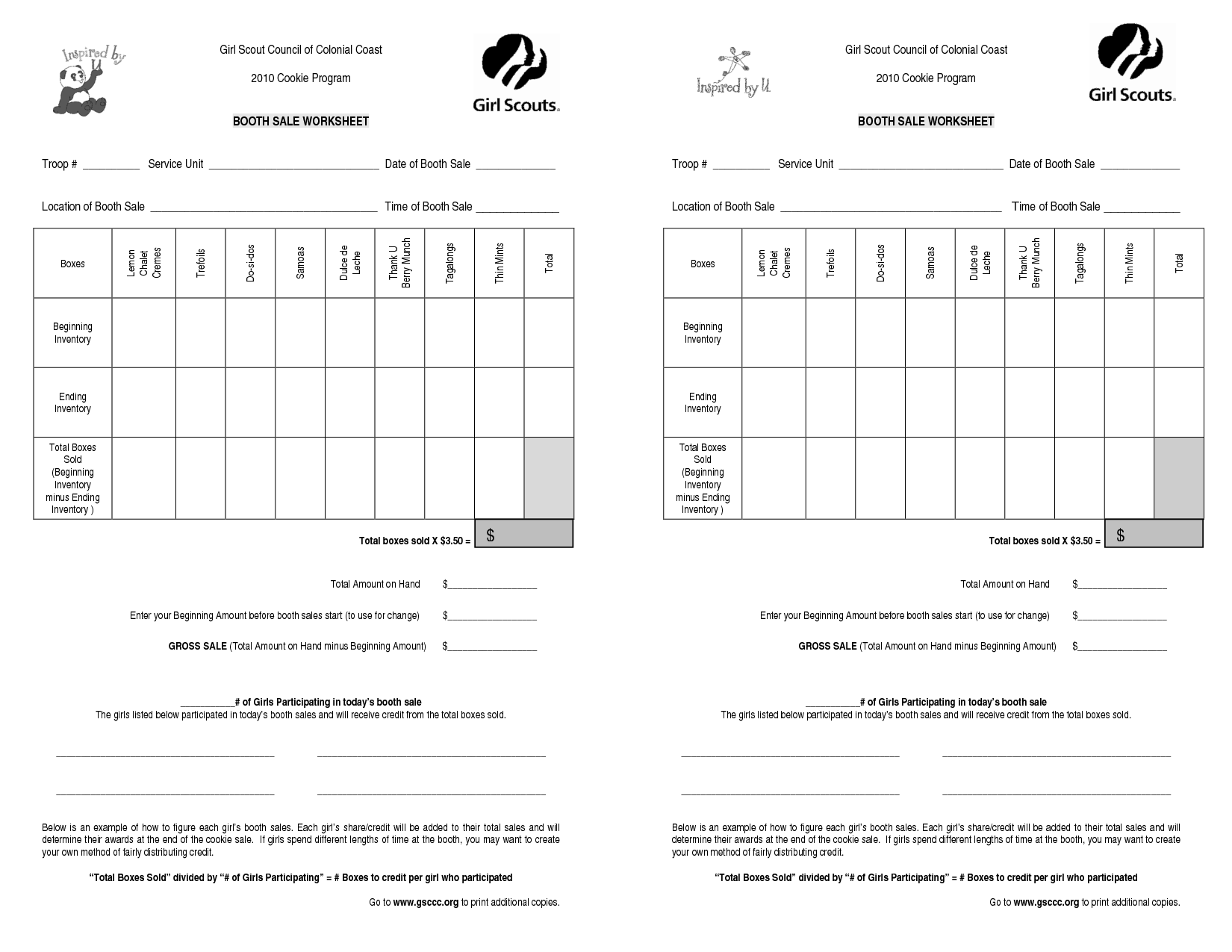 Girl scout cookie booth forms girl scout council of for Girl scout order form template