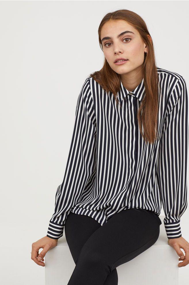 Long sleeved Blouse Dark bluestriped Ladies | H&M US