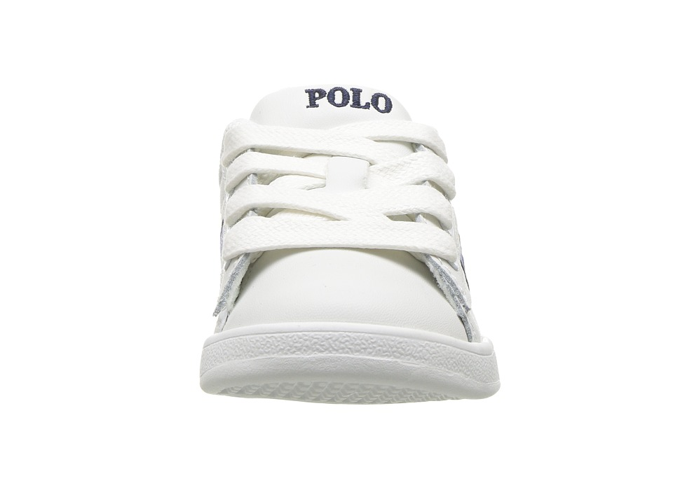 f2a3b4ecd0841 Polo Ralph Lauren Kids Quilton Bear (Toddler) Boy s Shoes White  Leather Blue Navy Striping Americana Boy Bear
