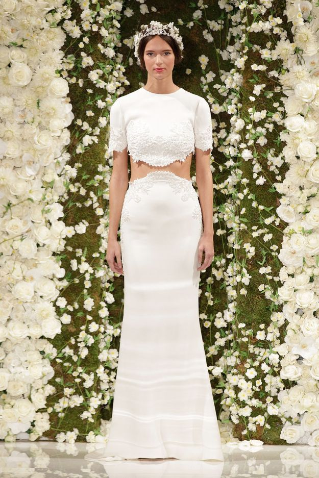 Crop top by Reem Acra via Getty Images
