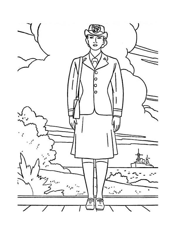 Female Officer In Navy Uniform Celebrating Veterans Day Coloring