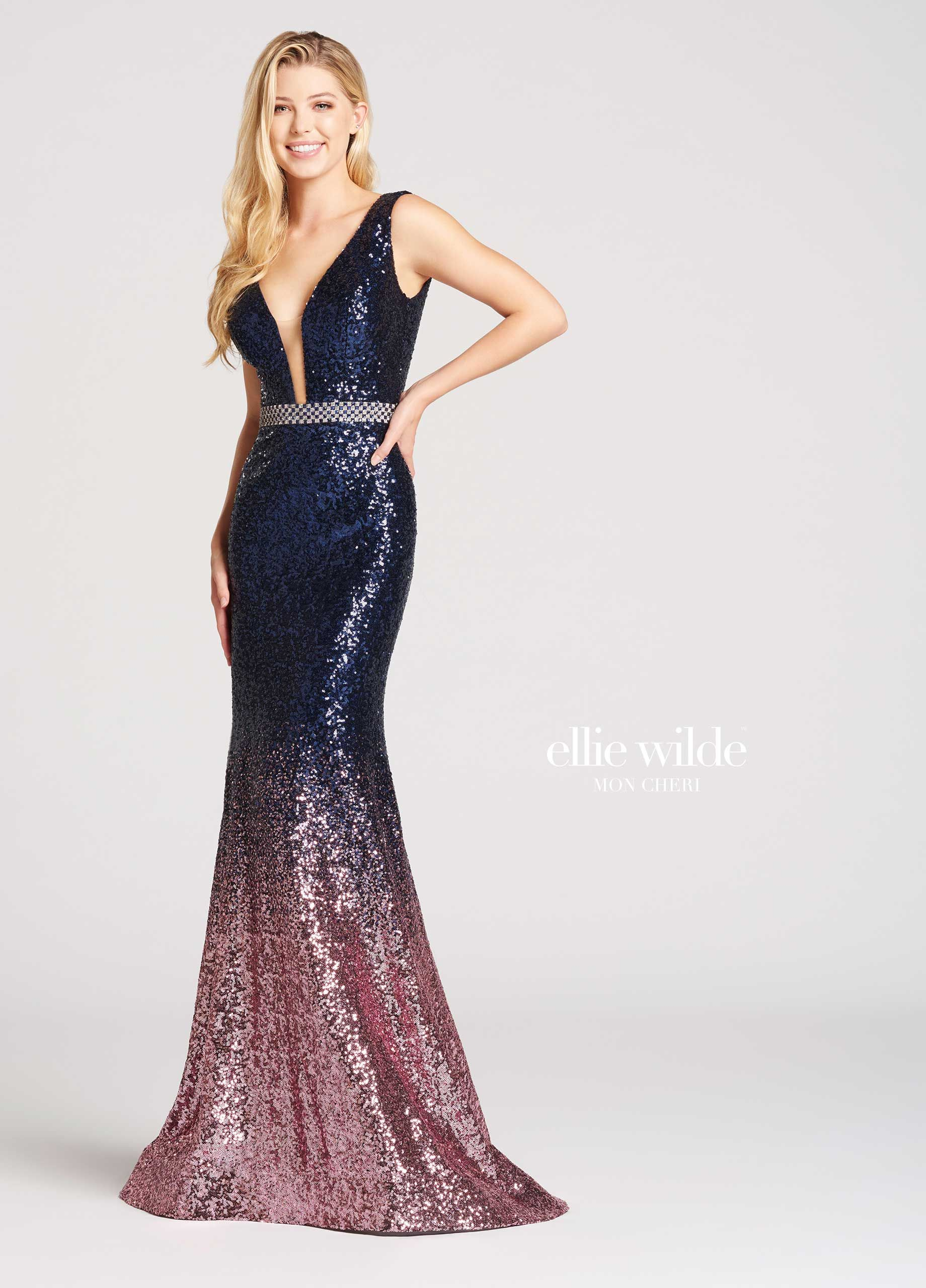 Ombre Sequin Mermaid Prom Dress with V-Neck- EW118047 | Pinterest
