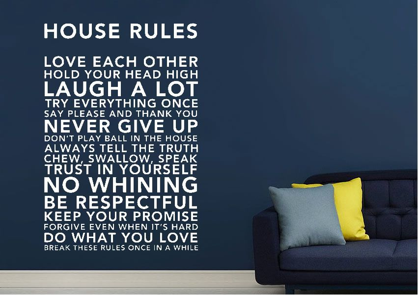 house rules 3 green family quotes wall stickers numerous sizes