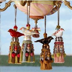 Mackenzie-Childs Ceramic Bird Tassel Harlequin