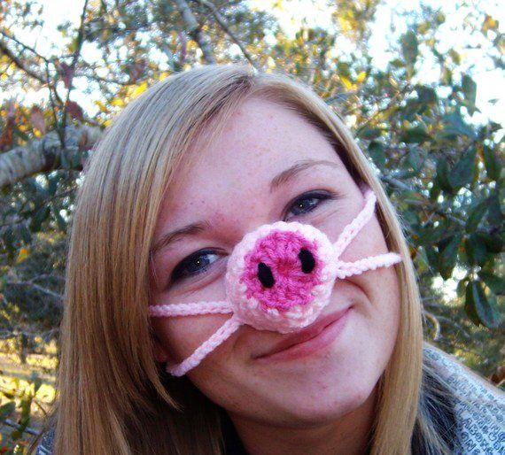 Pink Pig Nose Warmer Gag Gift Nose Cozy Crocheted Stocking
