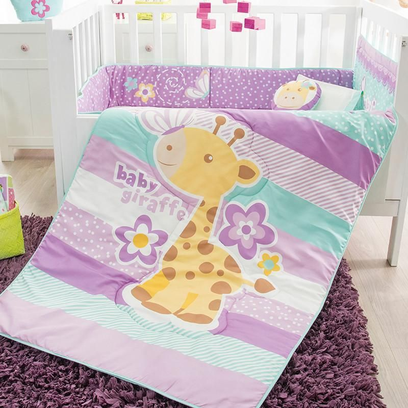 The Giraffe Crib Bedding Set Baby Girl, Purple Elephant Mini Crib Bedding