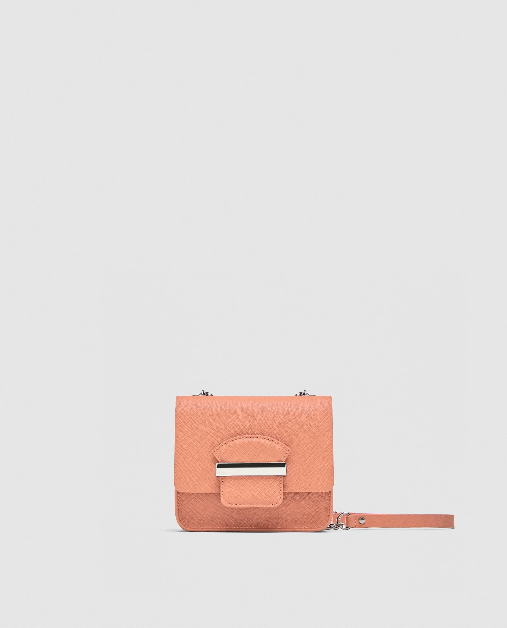 1d20dcd3bee Crossbody Bag With Chain Strap // 29.90 USD // Zara // Mini crossbody bag  available in several colors. Decorative detail on flap. Chain link shoulder  strap.