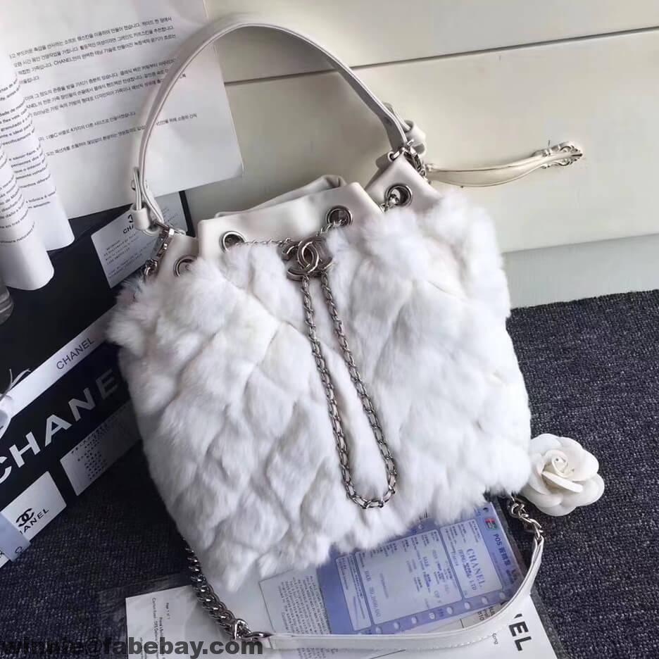 7d3a3ffa4773 Chanel Lambskin/Angora Drawstring Bucket Bag | Chanel | White chanel ...