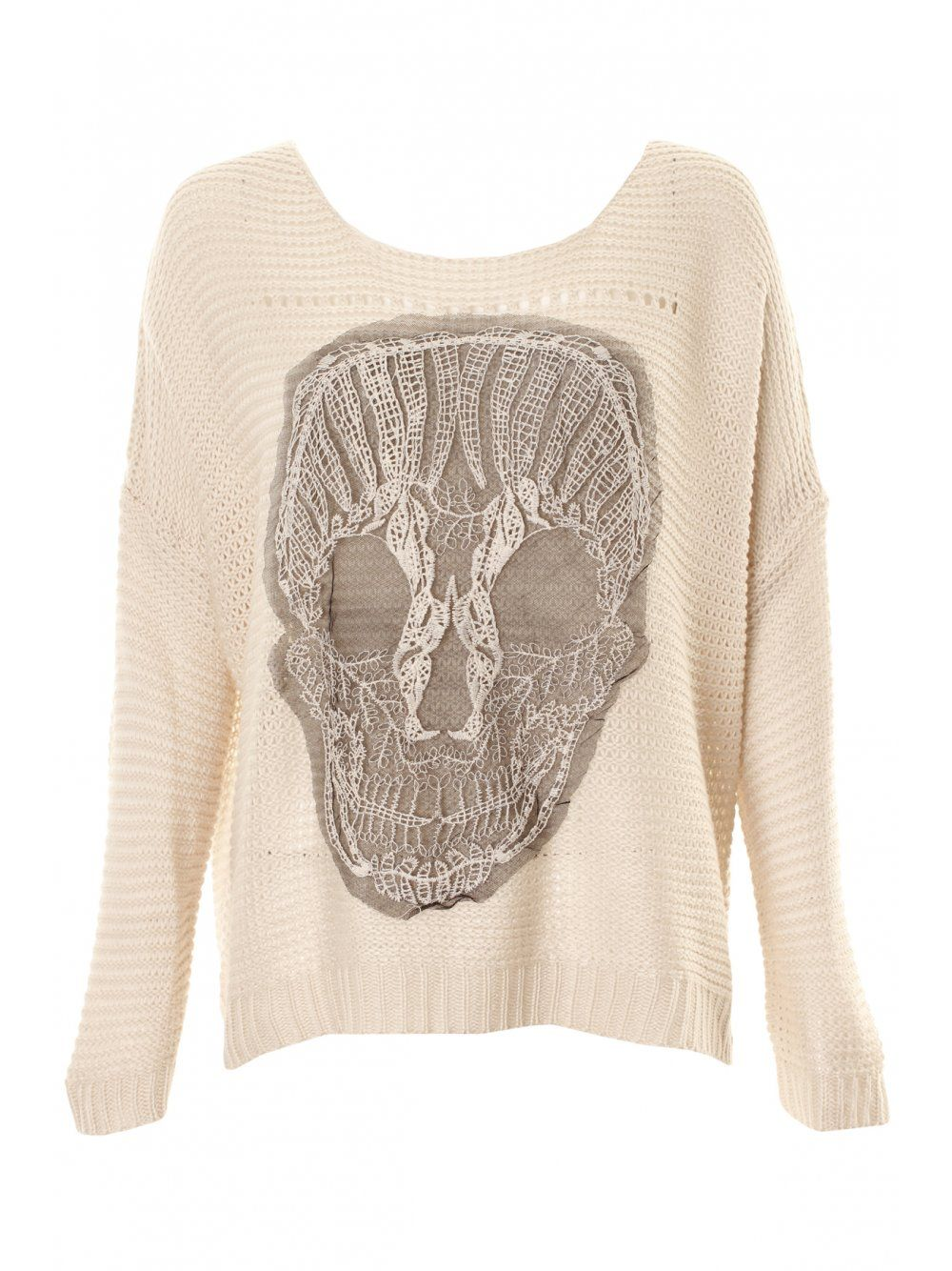 0550c286a2614 Cream Oversized Skull Jumper