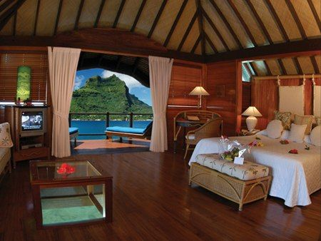 Inside Of The Huts In Bora Bora Water Bungalow Overwater
