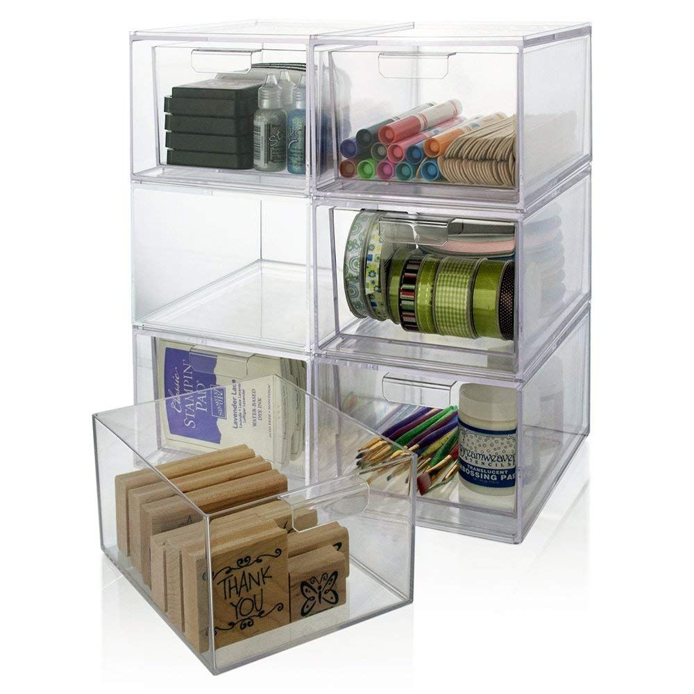 Amazon Com Stackable Clear Plastic Craft And Office Organizer
