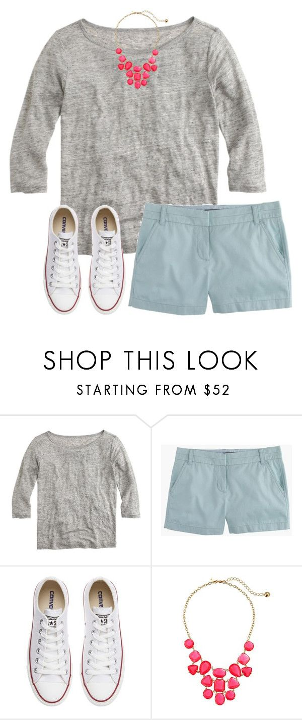"""""""Good Morning!!✨"""" by lizzy-carson ❤ liked on Polyvore featuring J.Crew, Converse and Kate Spade"""