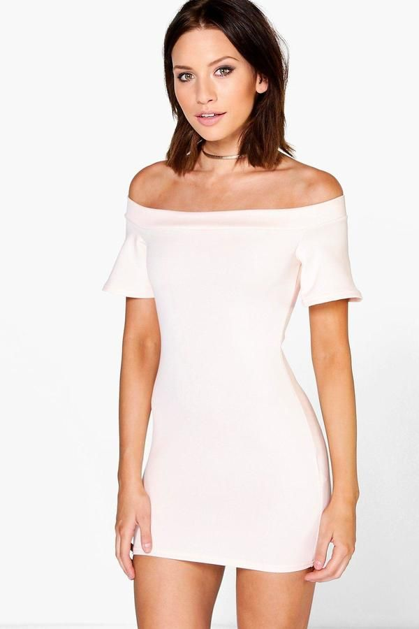 boohoo Petite Janey Off The Shoulder Scuba Dress | sexy chill ...