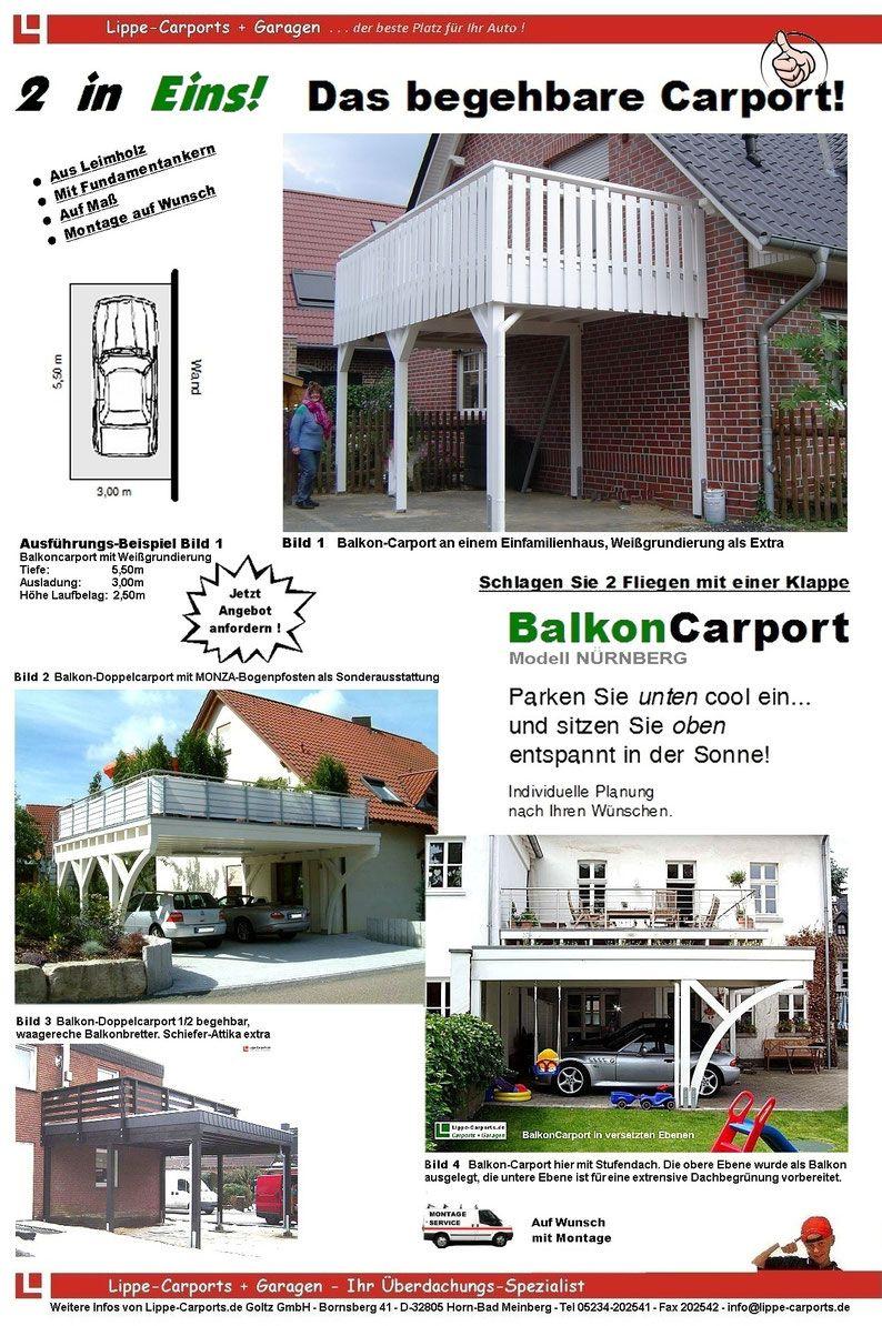 Balkon Carports Mit Terrasse Carports Holz Stahl Alu In 2020 Carport Preise Carports Carport