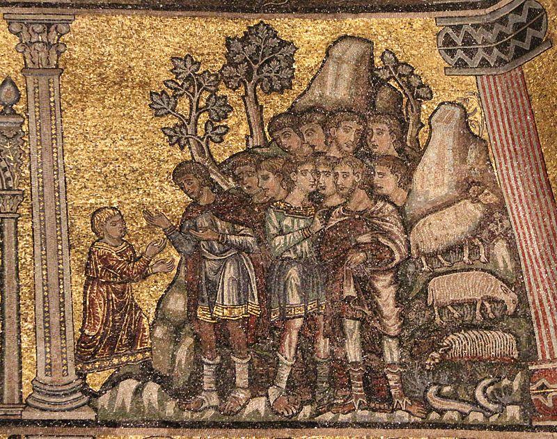 Coppo di Marcovaldo (bottega di) - Storie di Giuseppe: Giuseppe racconta i sogni ai fratelli - mosaici - 1250-1330 ca. - Battistero di Firenze
