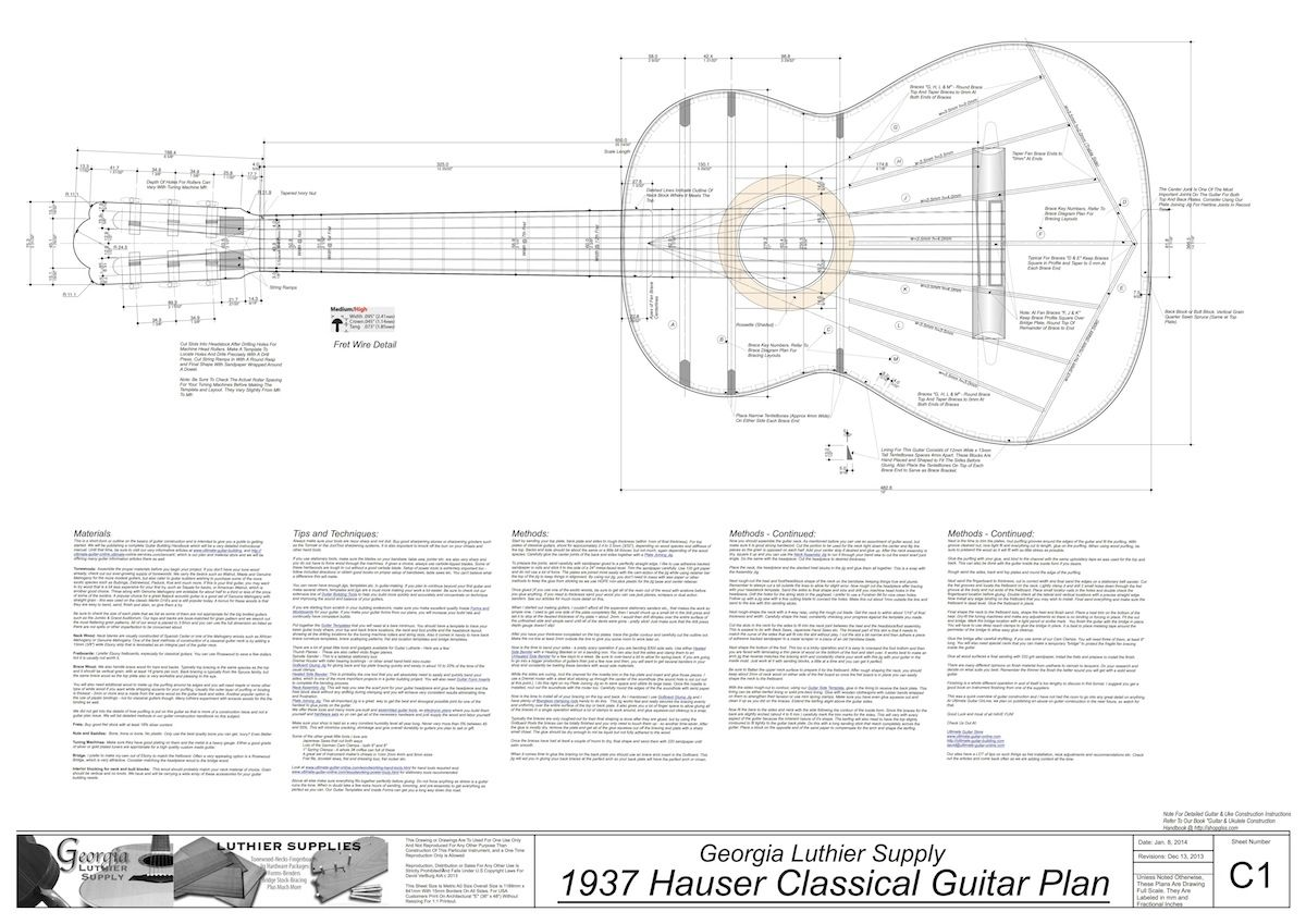 1937 Hermann Hauser Guitar Plans Electronic Version Classical Guitar Guitar Building Classic Guitar