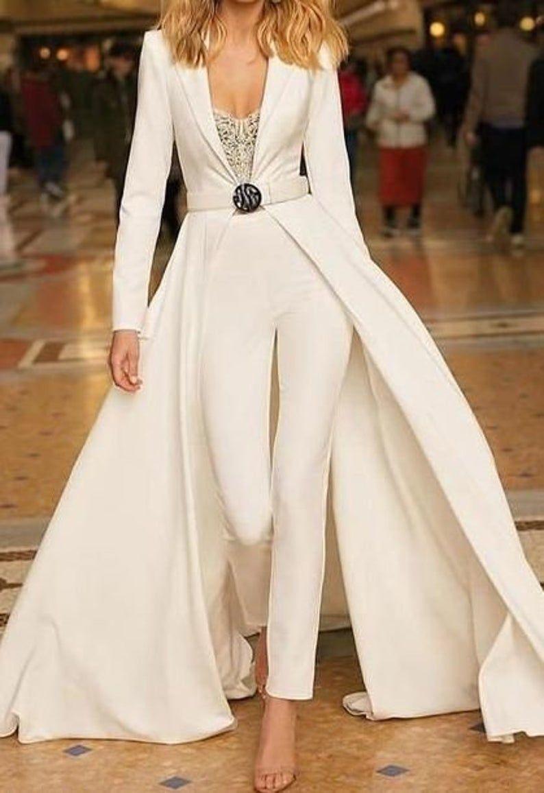 Women wedding cape jacket and pants set women blazer with ...