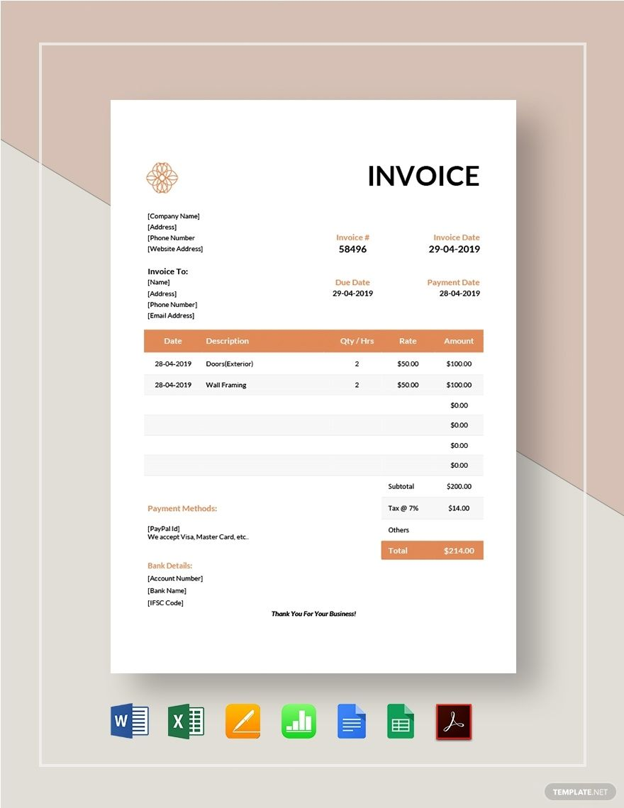 Exterior Design Invoice Template Free Pdf Word Excel Apple Pages Google Docs Google Sheets Apple Numbers Invoice Template Invoice Design Invoice Design Template