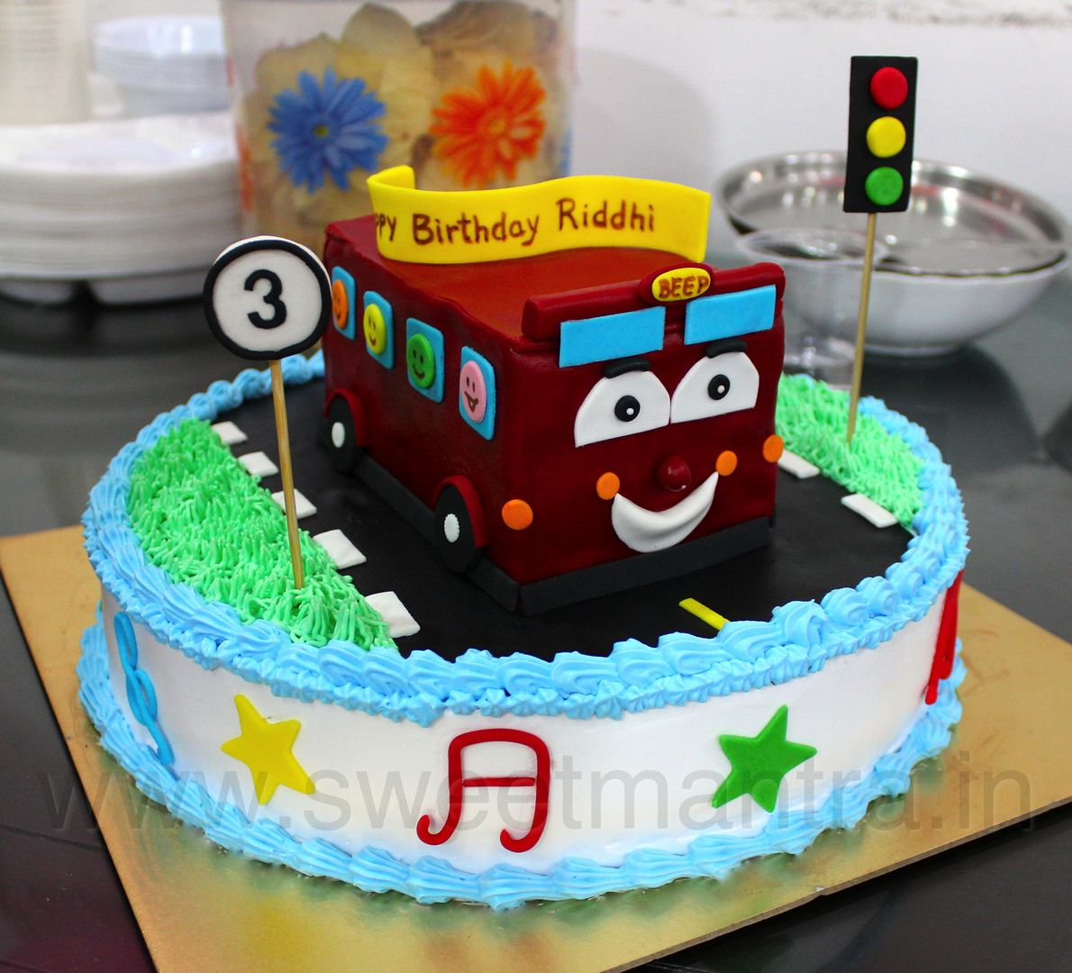 Homemade Eggless 3D Custom Wheels On The Bus Theme 3rd Birthday Cake For Girl At Baner Pune