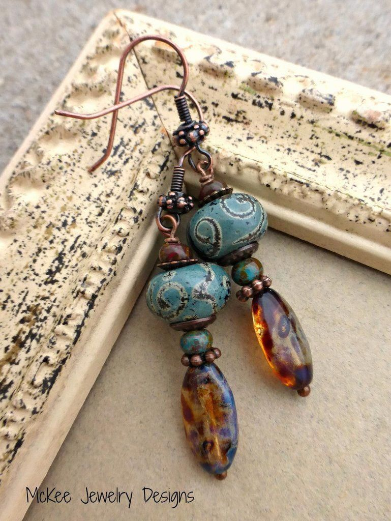 Welcome to Andria Bieber Designs  Dance Copper glass lampwork Czech glass and metal earrings Handmade handcrafted artisan beade