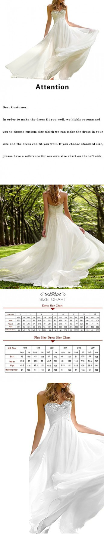 d2101df63a3 Favors Dress Women s Sweetheart Beach Wedding Dress Bead Bridal Gown Empire  White B 12