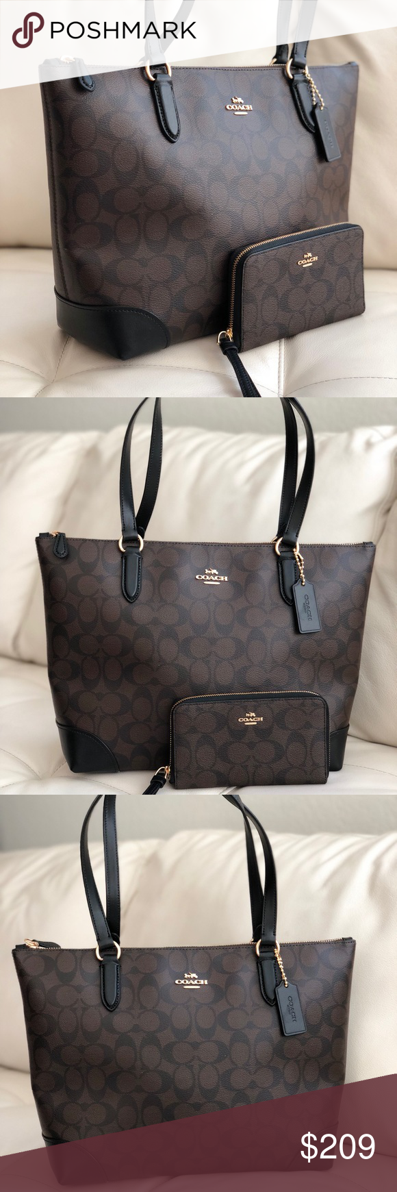 Coach Zip Tote In Signature F58292 Brown Wallet Boutique My Posh Gold