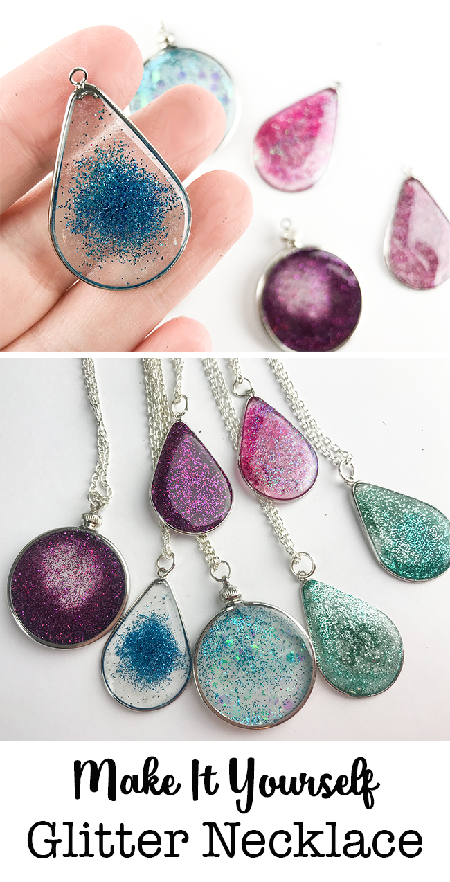 Make it Yourself - Floating Glitter Necklace Made with Resin #GlitterCrafts