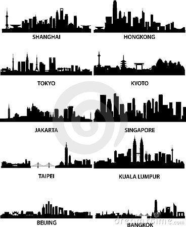 Asian Cities Skylines 16450213 Jpg 368 450 City Silhouette City Skyline Silhouette Vector