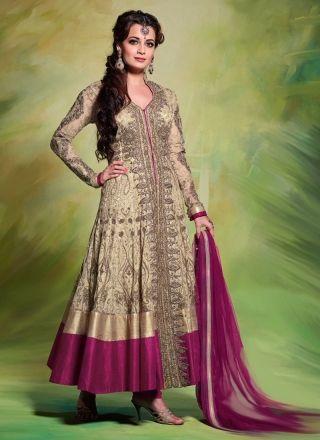 Diya Mirza Cream And Purple Designer Anarkali Suit http://www.angelnx.com/Salwar-Kameez/Bollywood-Salwar