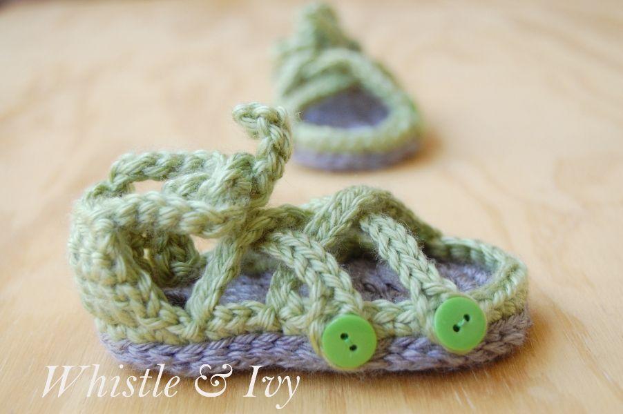 Button Gladiator Baby Sandals Crochet Patterns Baby Free Crochet