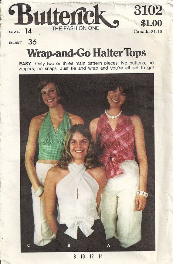 7ce7dbe30d5 70 s Butterick 3102 Misses Wrap Halter Tops Vintage Sewing Pattern ...