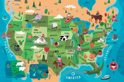USA Map For Crocodile Creek Aaron Meshon Maps Pinterest - A usa map