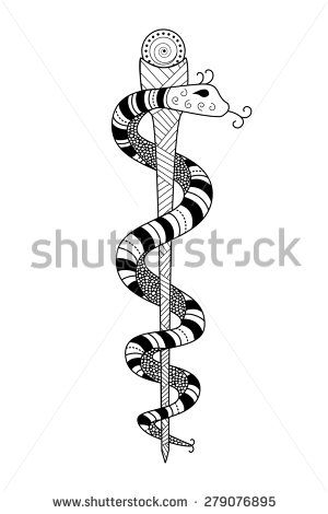 Black White Line Drawing Of The Rod Of Asclepius With A Snake