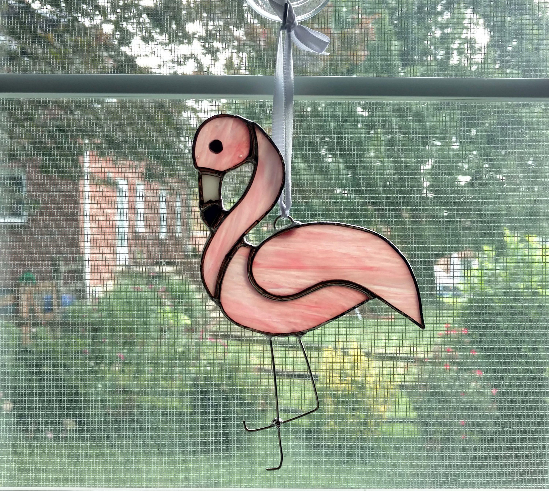 Pink Flamingo Stained Glass Suncatcher