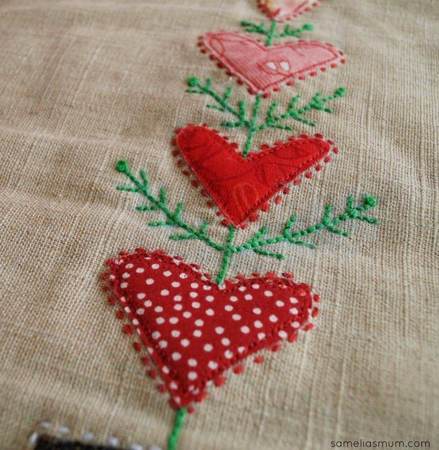 Valentine's Day Mini Quilt Swap - applique and stitching by A Stitch in Between. #ValentinesDay #MiniQuilt #WallHanging