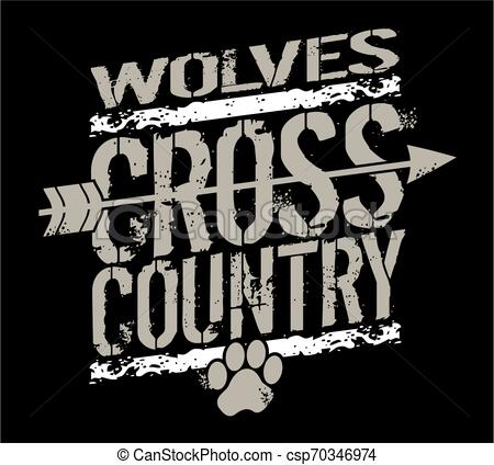 wolves cross country Vector stock illustration, royalty